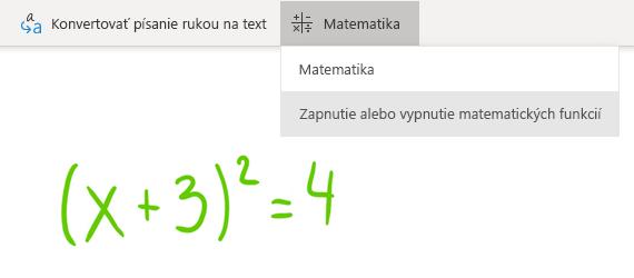 Možnosť tlačidla Matematika vo OneNote pre Windows 10
