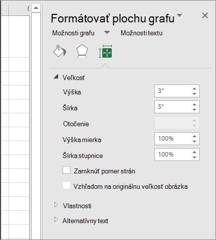 Môžete nastaviť veľkosť grafu v dialógové okno Formátovať plochu grafu