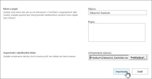 Dialógové okno novej aplikácie svyplneným názvom aumiestnením súboru, import je zvýraznený