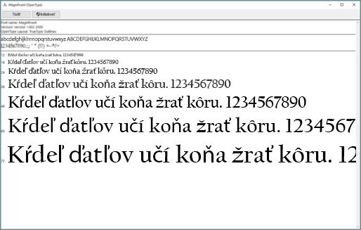 Zobrazovač písiem vo Windowse umožňuje zobrazovať a inštalovať písma v počítači s Windowsom