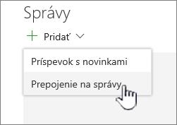 Pridanie prepojenia na správy z webovej časti správy