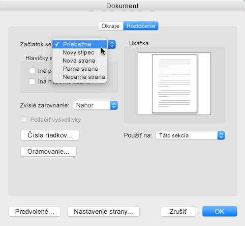 Ak chcete zlom sekcie zmeniť na priebežný, prejdite do ponuky Formát, kliknite na dokument a potom nastavte začiatok sekcie na možnosť Priebežne