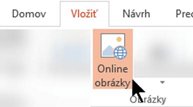 Na páse snástrojmi vyberte položku Vložiť apotom vyberte položku Online obrázky