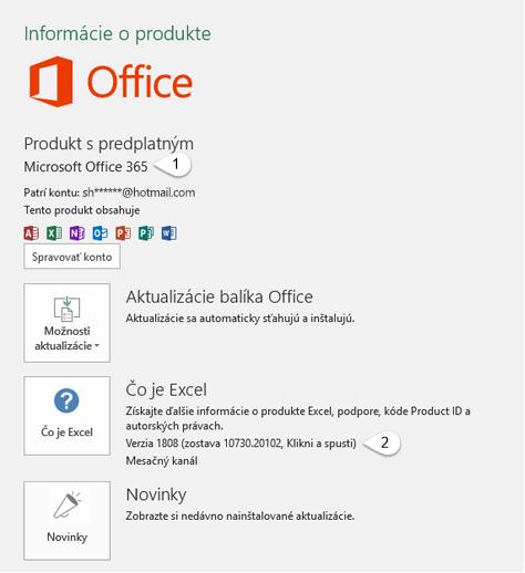Stránka konta, ktorá obsahuje informácie o používateľovi a produkte