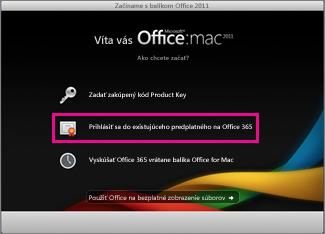 Domovská stránka inštalácie balíka Office for Mac, na ktorej sa prihlásite do existujúceho predplatného služieb Office 365.