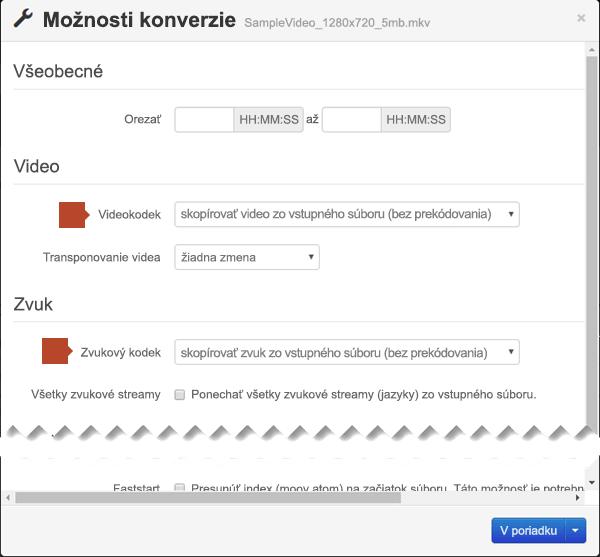 Dialógové okno Možnosti konverzie s možnosťami pre položku Kód videa a Zvukový kodek