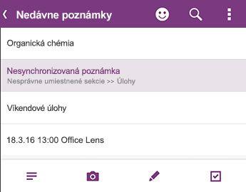 Zoznam naposledy použité poznámky v programe OneNote pre Android