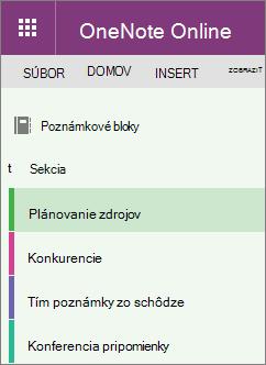 Vzorový OneNote sekcie