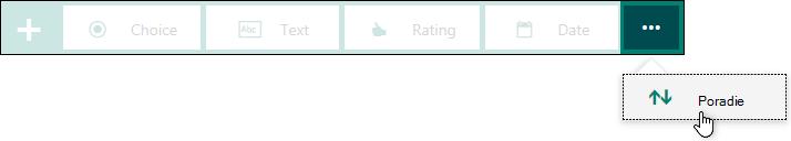 Typ Ranking otázky sa zobrazujú vo formulári.