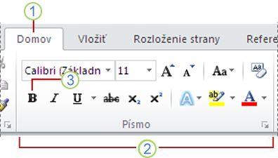 Pás s nástrojmi programu Word 2010