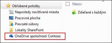 Synchronizovaná knižnica OneDrive for Business v časti obľúbených položiek Windowsu