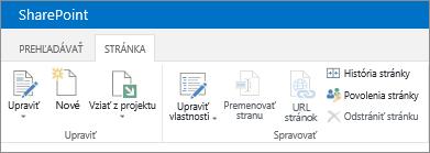 Pás s nástrojmi v ľavom hornom rohu obrazovky v SharePointe 2013