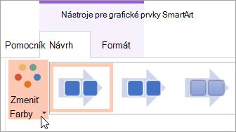 Zobrazí sa tlačidlo zmeniť farby na karte návrh