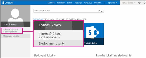 Snímka obrazovky stránky Lokality so zvýrazneným prepojením Informačný kanál s aktualizáciami