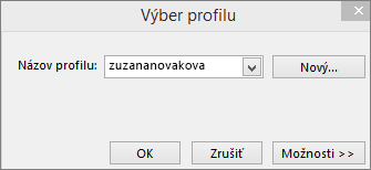 Vyberte dialógové okno profilu s názvom nového profilu