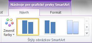 Skupina štýly grafických prvkov SmartArt na karte návrh v časti Nástroje pre grafické prvky SmartArt