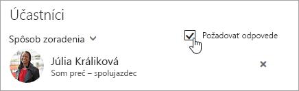 Snímka obrazovky s tlačidlom Požadovať odpovede v Outlooku na webe