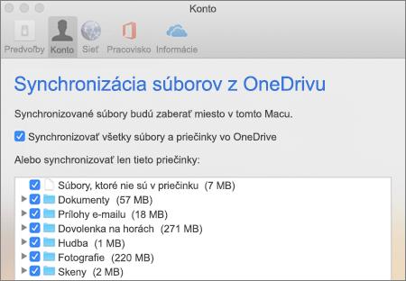 Dialógové okno Synchronizácia priečinkov pre OneDrive pre Mac
