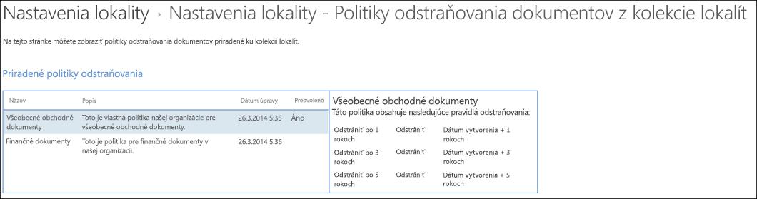 Dokument odstránenia politiky priradené k kolekcie lokalít