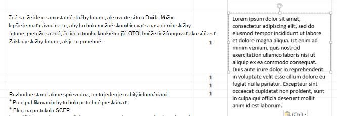 V textovom poli je prilepený nový text.