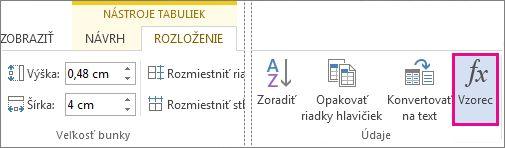 Tlačidlo Vzorec v nástrojoch tabuliek