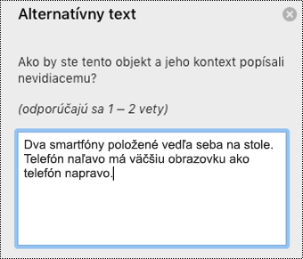 Alternatívny text v Outlooku pre Mac