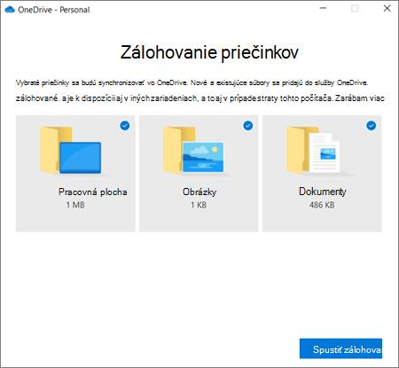 Snímka obrazovky s dialógovým oknom nastavenie ochrany dôležitých priečinkov vo OneDrive