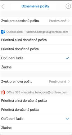 Stránka e-mailových oznámení s kontrolovanými obľúbenými ľuďmi