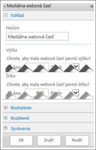 Snímka obrazovky s mediálna webová časť upraviť panel so zobrazením niektorých vlastností, ktoré môžete nakonfigurovať