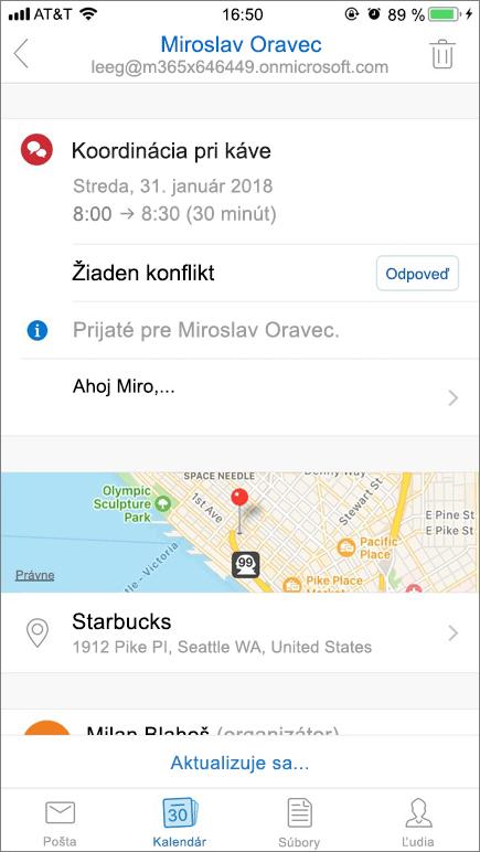 Snímka obrazovky zobrazuje obrazovky mobilného zariadenia pomocou pozvánky položky kalendára.
