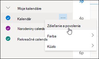 Snímka obrazovky s kurzorom ukazujúcim na Zdieľanie a povolenia v kontextovej ponuke kalendára