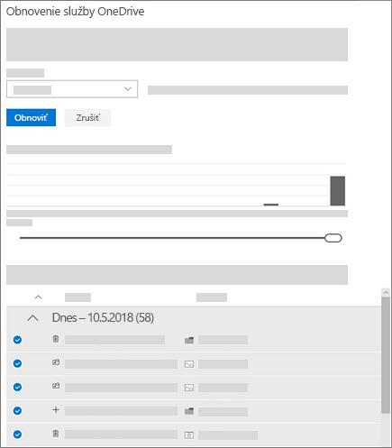 Snímka obrazovky s použitím graf aktivity a aktivity, ak chcete vybrať aktivity v obnovenie služby OneDrive