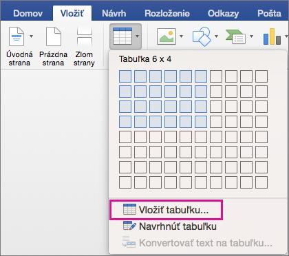 Zvýraznená položka Vložiť tabuľku na vytvorenie vlastnej tabuľky