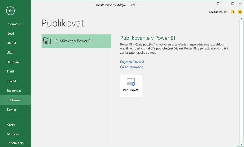 Publikovanie v službe Power BI