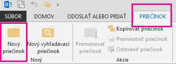 Na karte Priečinok kliknite na položku Nový priečinok.