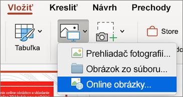 Ponuka Vložiť zobrazujúca príkaz Online obrázky