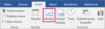 Zvýraznená ikona Obrázky na karte Vložiť.