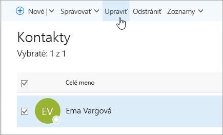 Snímka obrazovky s kurzorom na tlačidle Upraviť na stránke Ľudia.