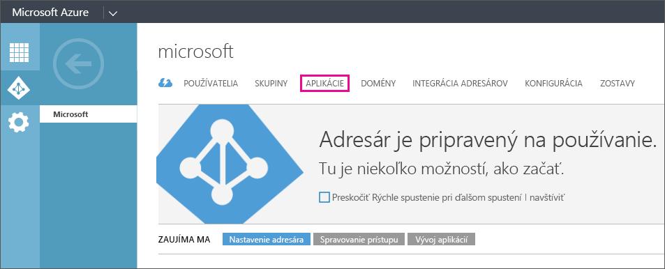 Zobrazuje ponuku služby Azure AD ponuky svybratou položkou APLIKÁCIE.