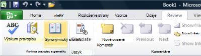 Synonymický slovník na karte Revízia na páse snástrojmi programu Excel