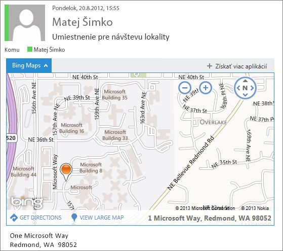 E-mailová správa s aplikáciou Mapy Bing zobrazujúca adresu na mape
