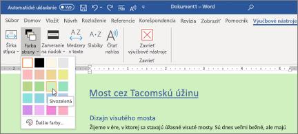 Wordový dokument so zeleným pozadím a dialógové okno Výber farby strany