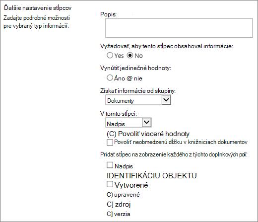 Dialógové okno Výber vyhľadávacieho stĺpca