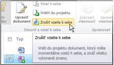 Ikona Zahodiť položky vzaté z projektu na páse s nástrojmi lokality SharePoint