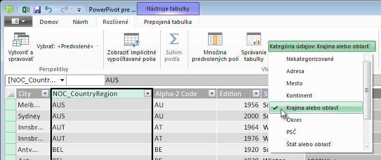 Kategórie údajov vdoplnku PowerPivot