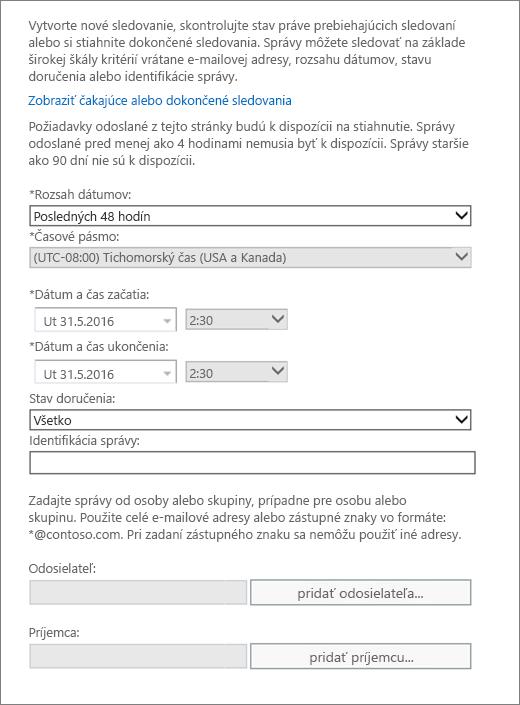 Snímka obrazovky zobrazujúca dostupné možnosti v sledovaní správ