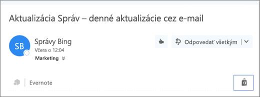 Snímka obrazovky súryvkom hornej časti e-mailovej správy so zvýraznenou ikonou Obchod. Kliknutím na ikonu sa otvorí okno Doplnky pre Outlook, kde môžete prehľadávať ainštalovať doplnky.