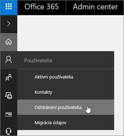 Vyberte položky Používatelia > Odstránení používatelia.