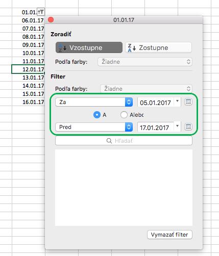 Filtrovanie hodnôt dátumu vExceli pre Mac