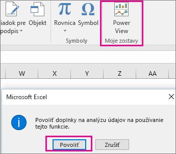 Vlastné tlačidlo a dialógové okno zobrazenia kontingenčnej tabuľky, ktoré zapína doplnok v Exceli